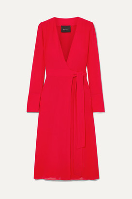 Akris Silk Crepe De Chine Wrap Dress - Red