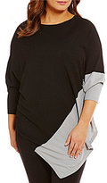 Peter Nygard Plus Crew Neck Asymmetric Hem Poncho