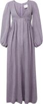 Lisa Marie Fernandez Carolyn Bow-Embellished Linen-Blend Maxi Dress