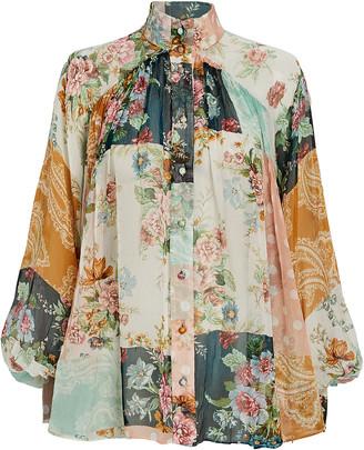 Zimmermann Wavelength Floral Silk Blouse