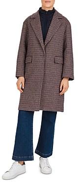 Gerard Darel Perry 2-in-1 Wool-Blend Houndstooth Coat & Puffer Vest