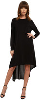 Michael Stars Cupro Long Sleeve Crew Neck Hi Low Midi Dress