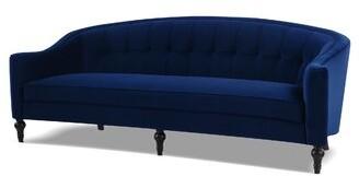 """Jennifer Taylor Stewart Velvet 87.5"""" Sofa Fabric: Navy Blue Velvet"""