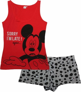 Disney Official Minnie Mickey Mouse Women's Womans Ladies Summer Short Sleeve Sleeveless Pyjamas Set 100% Cotton - Red L