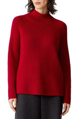 Eileen Fisher Raglan Sleeve Merino Wool Turtleneck Sweater