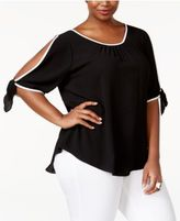ING Trendy Plus Size Split-Sleeve Top