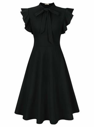 Moyabo Women's Vintage Dresses for Women Ruffle Sleeveless Tie Neck Retro A Line Swing Dress A Line Dresses for Women Dark Green Medium