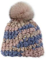 Mischa Lampert Melange Beanie Hat w/ Fur Pompom