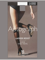 Autograph 3 Pair Pack 15 Denier Ladder Resist Shine Knee Highs with Silver Technology