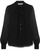 Diane von Furstenberg Alvanna Pussy-bow Silk-chiffon Blouse - Black