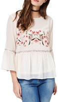 Miss Selfridge Embroidered Bell Sleeved Blouse