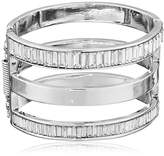 "Kenneth Cole New York Sparkled Baguette"" Baguette Stone Cut-Out Hinged Bangle Bracelet"