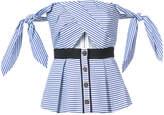 Self-Portrait striped off-shoulder blouse