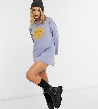 Rokoko relaxed long sleeve t-shirt dress in blue with sun graphic