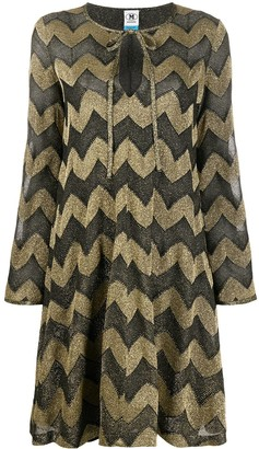 M Missoni Chevron-Print Flared Dress
