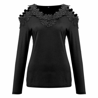 Toamen Women's Tops T-Shirt Sale 2019 New Ladies Off Shoulder Straopless Long Sleeve Lace Loose Tunic Blouse Shirt Pullover(Black 10)