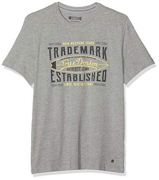 Mustang Men's Print Tee T-Shirt, (MID Grey Melange 4164)