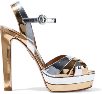 Aquazzura Coquette 140 Two-tone Mirrored-leather Platform Sandals