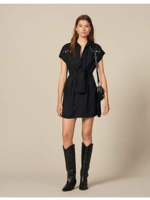 Sandro Shirt Dress Trimmed With Coloured Studs