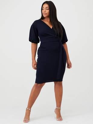 boohoo Plus Wrap Midi Dress - Navy