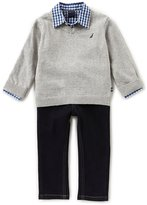 Nautica Baby Boys 12-24 Months V-Neck Sweater, Checked Woven Shirt & Jeans Set