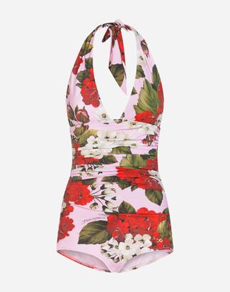 Dolce & Gabbana Geranium Print Swimsuit With Plunging Neckline
