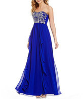 B. Darlin Beaded Bodice Strapless Ruffled Chiffon Skirt Long Dress