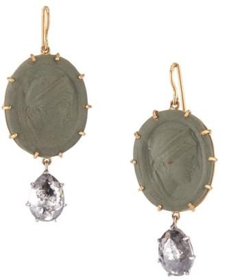 Sylva & Cie Cameo 18K Two-Tone Gold, Lava & Rough-Cut Diamond Drop Earrings