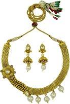 Matra Gold Tone Kundan Stone Designer Set of 2 Pcs Necklace Earrings Set Ethnic Jewelry