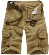 WSLCN Mens Military Style Combat Cargo Shorts Cotton (Without Belt) 34