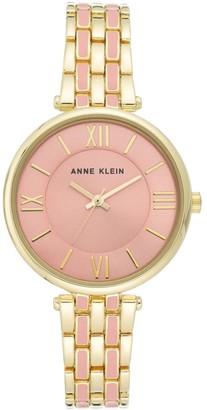 Anne Klein Womens Goldtone and Pink Bracelet Watch