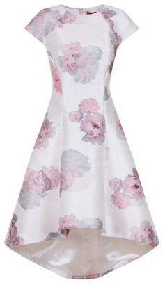 Dorothy Perkins Womens Chi Chi London White Floral Print Dip Hem Skater Dress