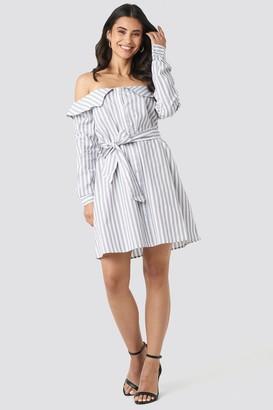 NA-KD Off Shoulder Shirt Dress Grey