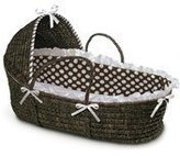 Badger Basket Espresso Hooded Moses Basket Brown Dot