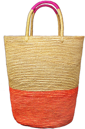 Sensi Tall Triple Tone Beach Basket Tote Bag