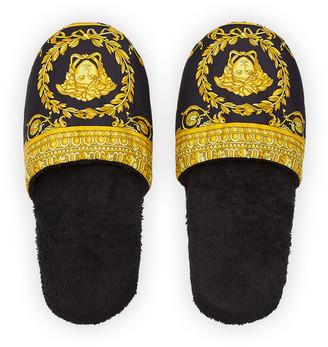 Versace Men's Barocco-Print Mule Slippers