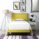 Modway Jessamine Fabric Platform Bed with Squared Tapered Legs in Sunny