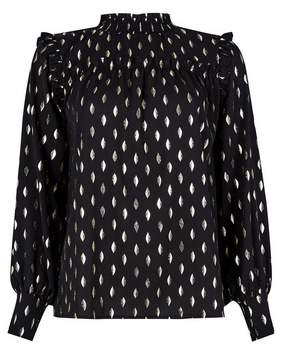 Dorothy Perkins Womens Gold And Black Foil Print Top, Gold
