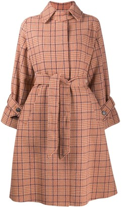 Alberto Biani Check Belted Coat
