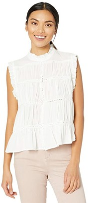 Off-White American Rose Charlie Mock Neck Sleeveless Ruffle Top Women's Clothing