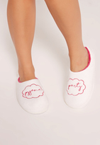 Missguided White Pajama Party Slippers