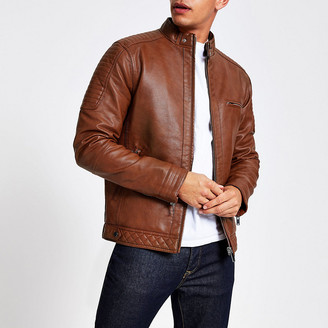 River Island Tan faux leather racer jacket