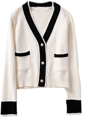 Goodnight Macaroon 'Gabrielle' Contrast Trim Button Cardigan with Pockets (3 Colors)