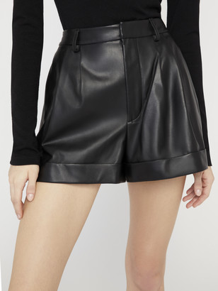 Alice + Olivia Conry Leather Pleated Shorts