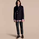 Burberry Waisted Cashmere Wool Blend Pea Coat