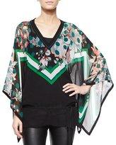 Roberto Cavalli Mixed-Print Full-Sleeve Tunic