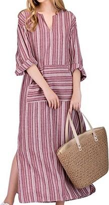 BBYES Women Vintage Loose Striped Long Sleeve Casual Kaftan Boho Maxi Cotton Linen Dresses S-5XL (Grey Large)