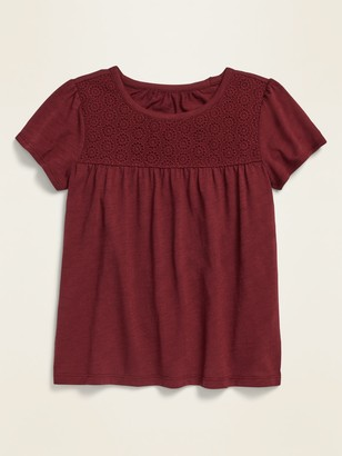 Old Navy Lace-Yoke Short-Sleeve Jersey Top for Girls