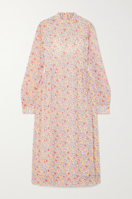 Ganni Floral-print Georgette Midi Dress - Ivory