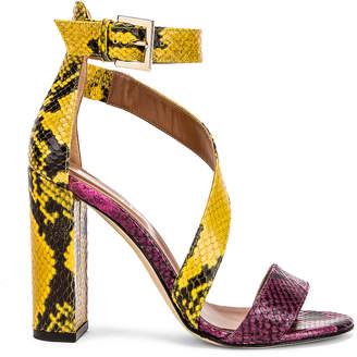 Paris Texas Diagonal Strap Snake 100 Sandal Heel in Fuchsia & Yellow | FWRD